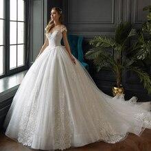 2020 neue Ankünfte Prinzessin Ballkleid Hochzeit Kleider Boho Robe De Mariage Kurzarm Lace Up Appliques Shiny Brautkleider