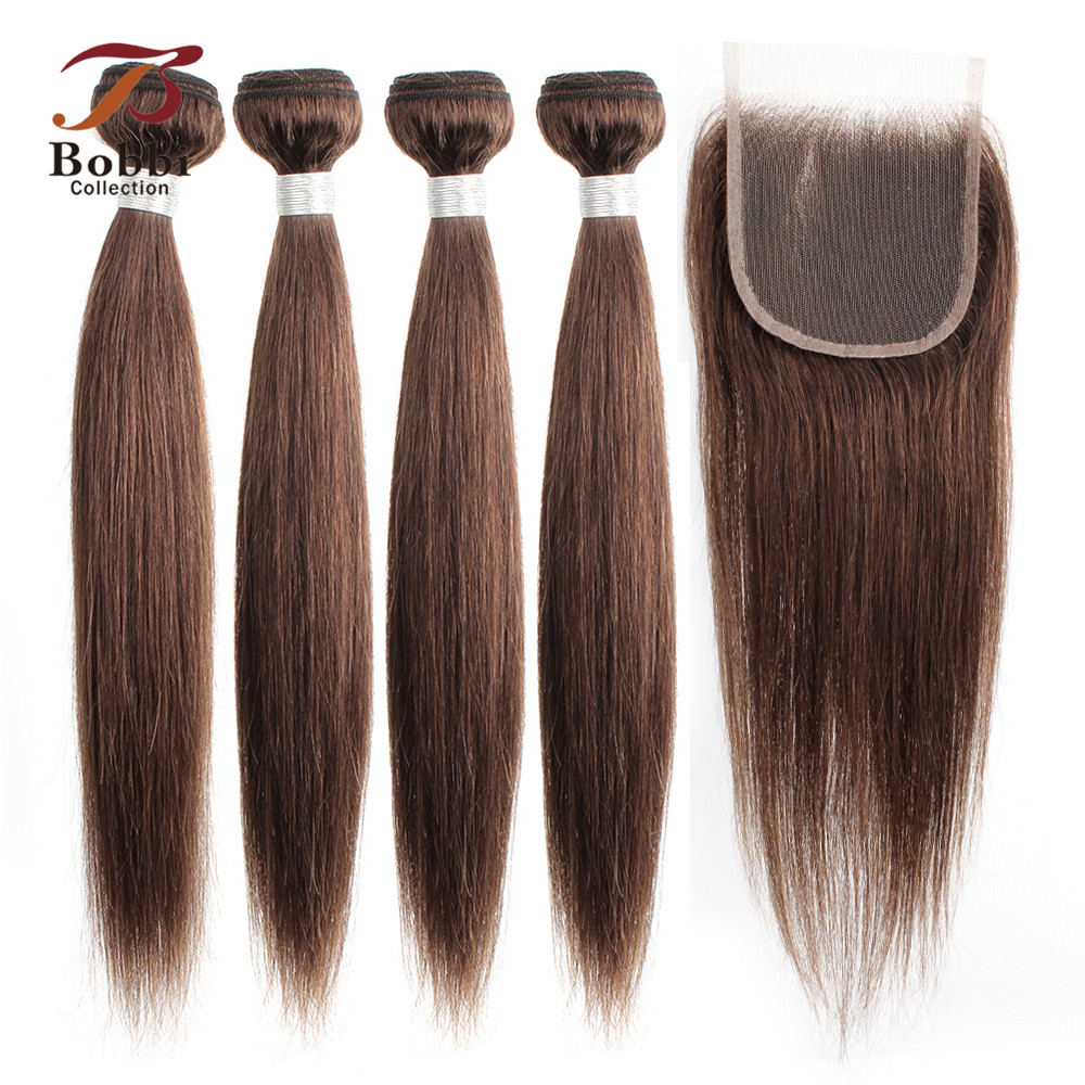 BOBBI COLLECTION Indian Straight Hair 3/4 Bundles With Closure Color 4 Chocolate Brown Non-Remy Human Hair Extensions