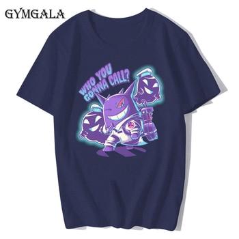 100% cotton anime cartoon Geng ghost printed men's T-shirt summer cotton short-sleeved T-shirt fashion tops tee men's clothing f - XQ-122navy blue, Asian size XL