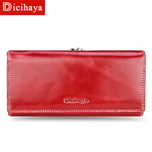 DICIHAYA Women's Oil wax genuine leather Wallet Long Cowhide Luxury Brand