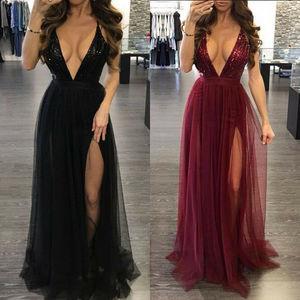 Damska głębokie V Neck bez rękawów elegancki formalna długa Maxi Cocktail Party suknia balowa bandaż bez ramiączek sukienka czerwony czarny XL