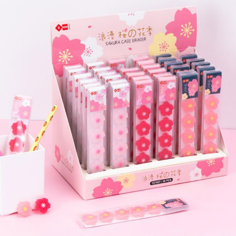 5 Pcs/pack Lovely Flower Cherry Blossoms Sakura Rubber Pencil Erasers Students Correction Eraser School Office Supply Stationary
