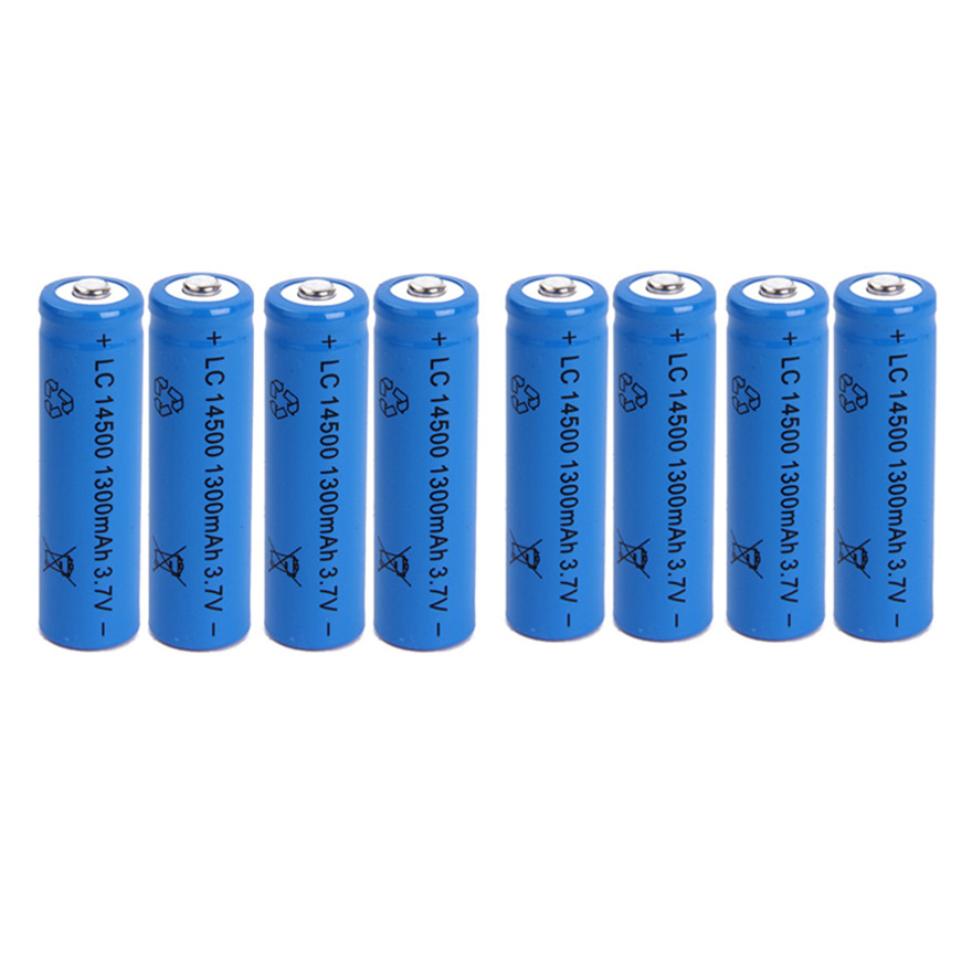 8pcs/lot Large capacity 3.7V 1300mAh rechargeable battery <font><b>14500</b></font> lithium <font><b>ion</b></font> rechargeable battery for flashlight battery image