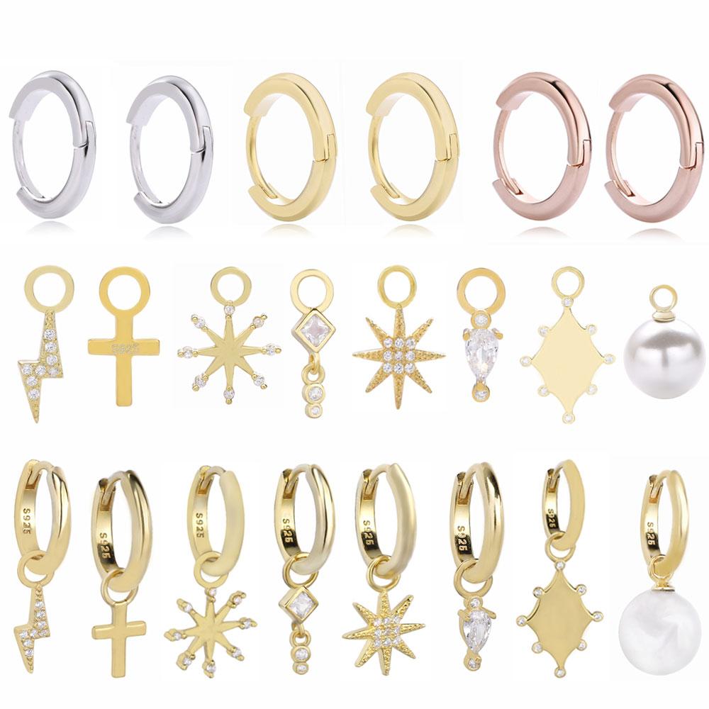 Moonmory Fashion Simple 925 Sterling Silver DIY Huggies Hoop Earring For Women Gold Lightning Snowflake Drop Pendant Earring DIY