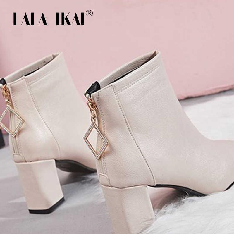 LALA IKAI ayakkabı kadın kış siyah sıcak çizmeler PU deri OL ofis fermuar polar çizmeler kadın orta topuk zapatos de mujer C6097-4