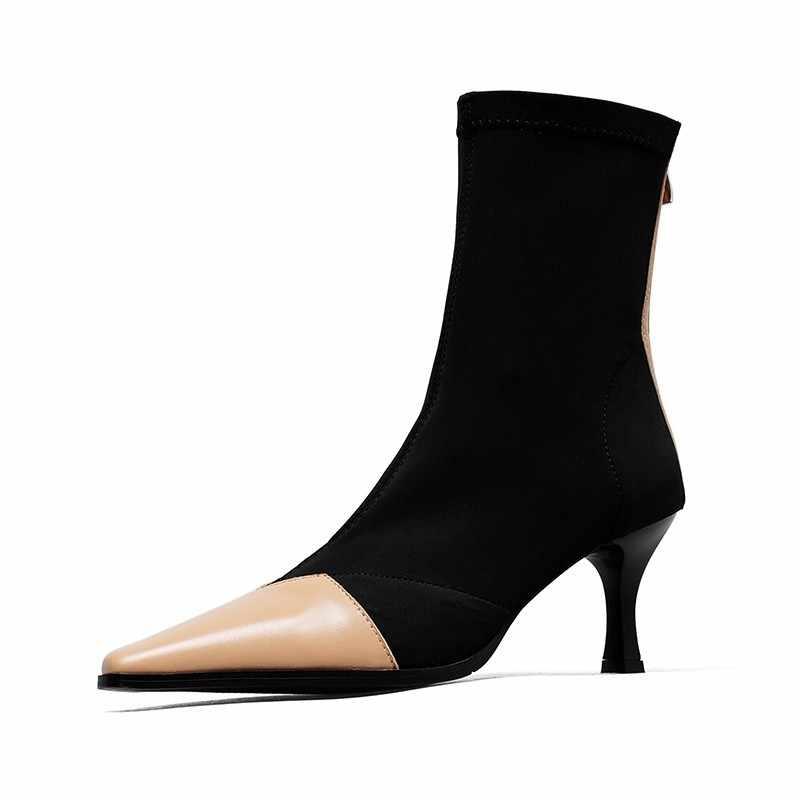 รองเท้าบูทข้อเท้าสตรีของแท้ Stiletto หนังยืดหยุ่นถุงเท้ารองเท้ารองเท้ารันเวย์แฟชั่น Zip รองเท้าส้นสูง Botines Mujer 2019 PLUS ขนาด