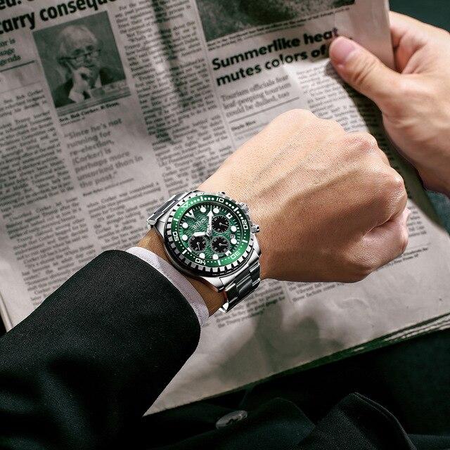 Фото роскошные брендовые мужские часы серебристые зеленые с водным цена