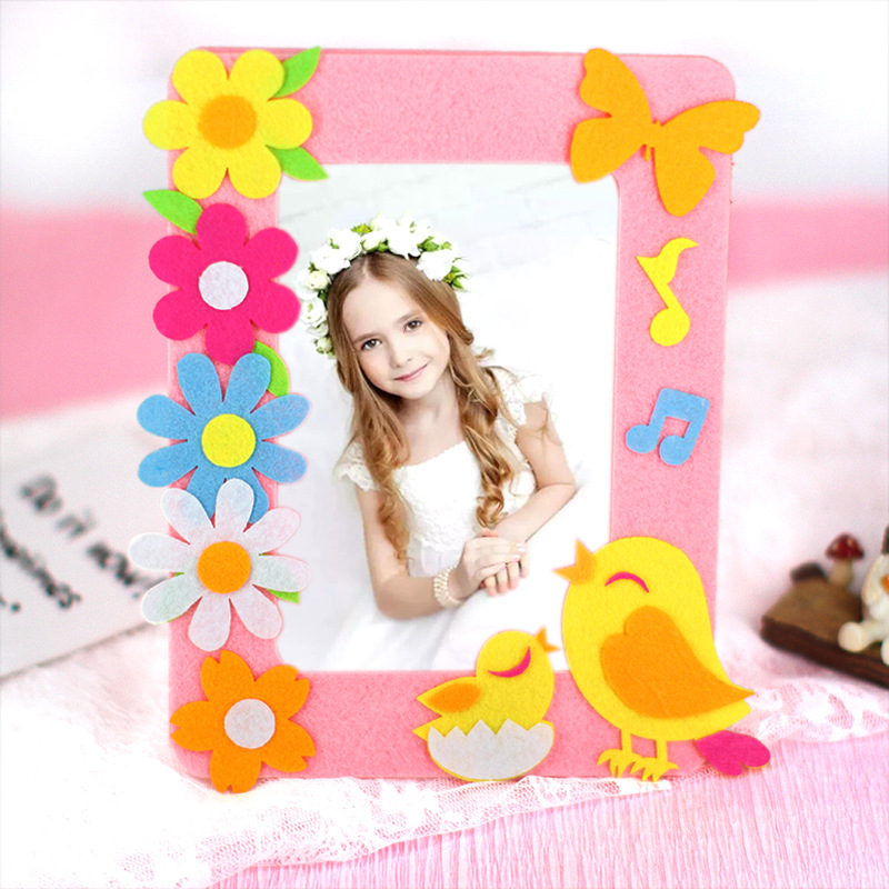 6 Inch Non-woven Stereoscopic Photo Frame Sticker Crafts For Kids Kindergarten Felt Education Toy DIY Handmade Adhesive Gift Set