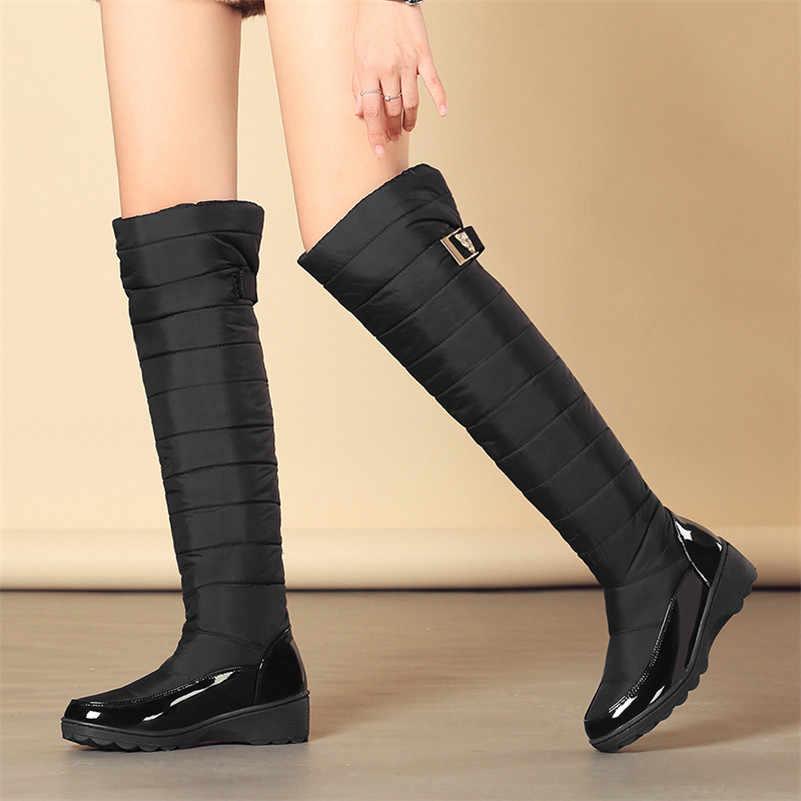 FEDONAS Nữ Thời Trang Mùa Đông Ủng Lông Ấm Áp Nêm Giày Cao Gót Giày Gợi Cảm Chắc Chắn Cao Dài Giày Người Phụ Nữ Các Nền Tảng Cao giày