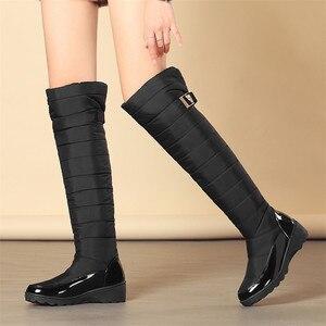 Image 5 - FEDONAS mode femmes hiver bottes de neige chaud fourrure cales talons hauts bottes Sexy serré haut longues chaussures femme plates formes bottes hautes