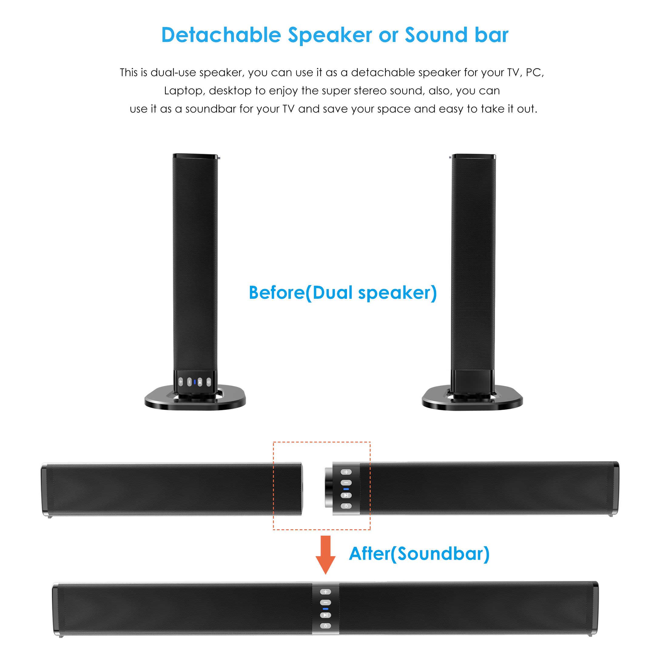 Centro musicale Separabile Soundbar 4.0 Canali 3D Surround Sound 20W Speaker Bluetooth con IL MIC Built-in Casa Subwoofer teatro