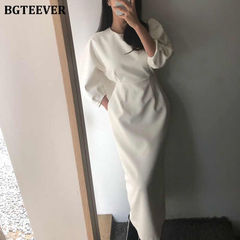 BGTEEVER Elegant O-neck Women Pencil Dress 2020 Spring Slim Fit High Waist Female Long Dress Casual Workwear Vestidos femme
