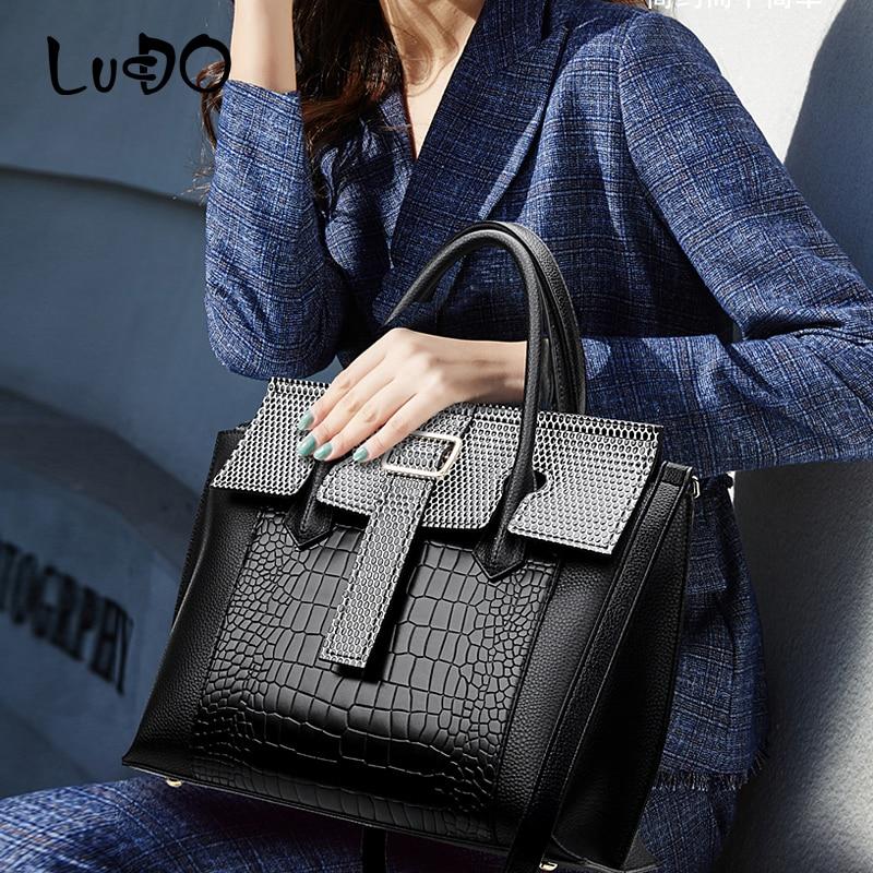 LUCDO 2020 New high quality Stone pattern Luxury Women Handbags Crocodile pattern Large Capacity Tote bag Retro Crossbody Bags