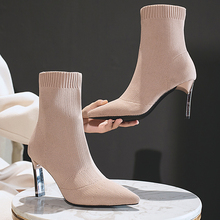 Socks Boots Heels Stilettos Shoes Woman Pointed-Toe Elastic Metal Women Blade Aphixta