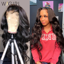 Wigirl 26 дюймов 13x4 кружевные передние человеческие волосы парики предварительно выщипанные бразильские объемные волнистые Remy кружевные пере...