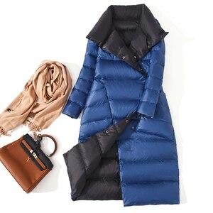 Image 2 - FTLZZ Ultra lekka biała kurtka puchowa damska zimowa dwustronna dopasowany długi płaszcz jednorzędowy ciepły parki śnieżna odzież wierzchnia