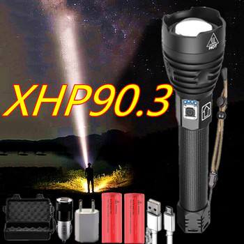 Super Bright XHP90.3 Powerful Flashlight Torch 26650 Battery USB Rechargeable Led 10000lm Tactical Flash Light Zoom Lamp image
