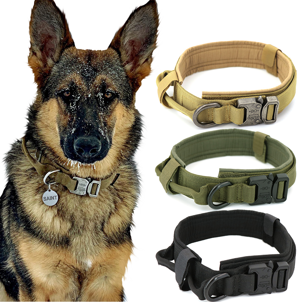Dog Collar Adjustable Military Tactical Pets Dog Collars Leash Control Handle Training Pet Cat Dog Collar For Small Large Dogs 1