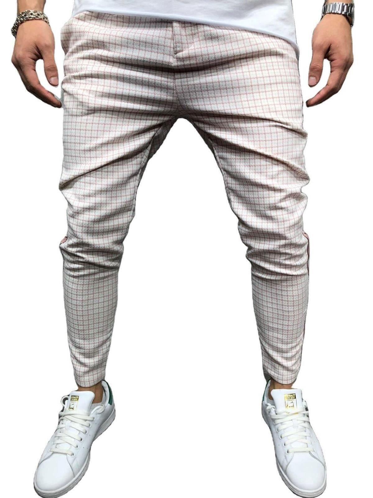 Men's Pants Japanese and Korean Plaid Pants Hip Hop Slim Casual Fashion Pants Men's Sports Pants Punk Jogging Pants