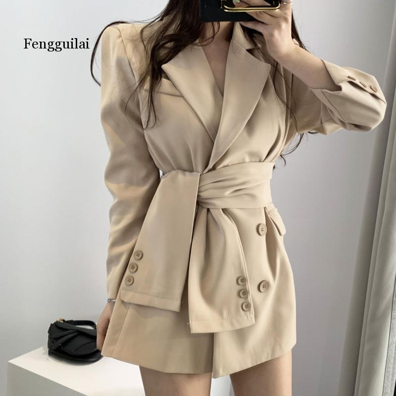 Female Blazer Coats With Blet Elegant Wrap Pink Blazer Women Lace waist Solid OL Blazers Jacket  Fashion Autumn Winter