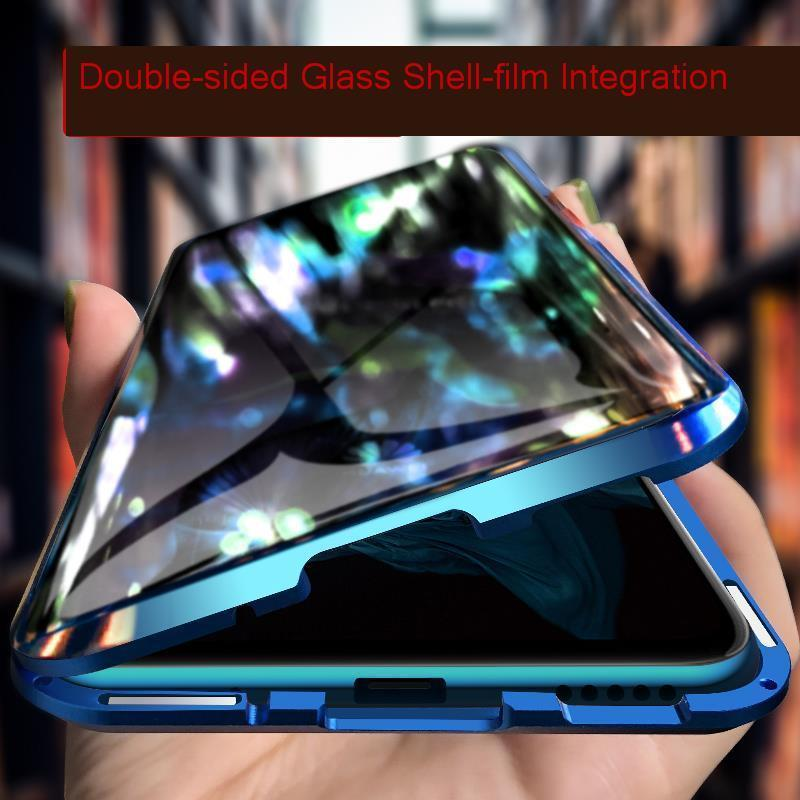Funda protectora de vidrio templado doble para Xiaomi mi A3 9 Lite CC9E mi 9T Pro Metal Magnet 360 funda de vidrio transparente completa
