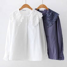 Blusas femininas shirts 2019 ladies tops for women clothing white lace long sleeve button spliced harajuku korean 0250