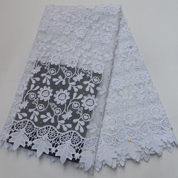 8 colors high quality rhinestones fixed African French net lace fabric in white with elegant embroidery for wedding party FLP183