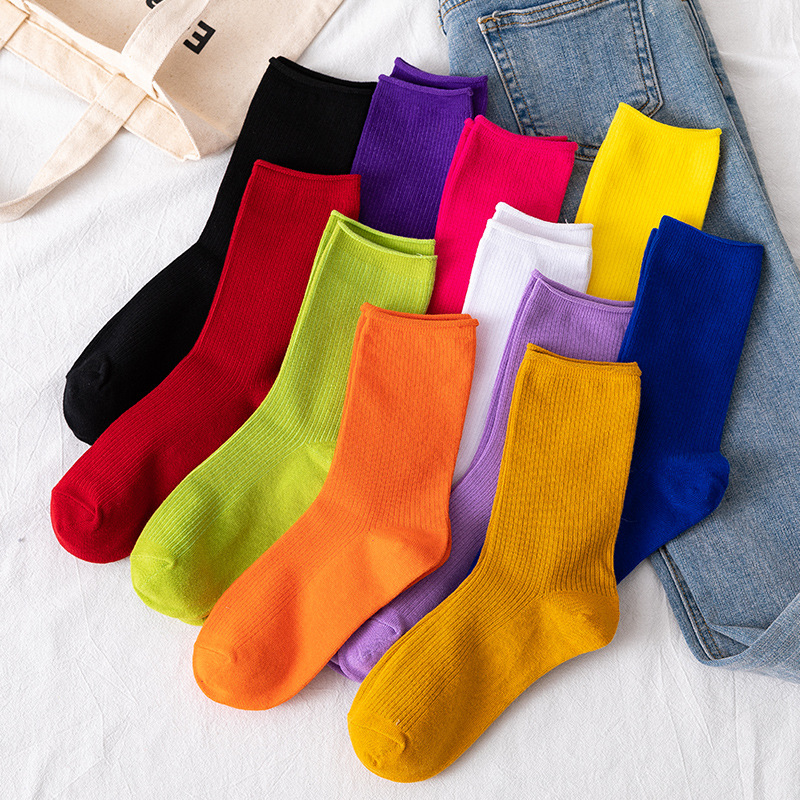 1 Pairs/Japan Korean Colour Candy Color Cotton Women's Socks Funny Harajuku Solid Rainbow Color Short Socks For Girls Mid-Tube