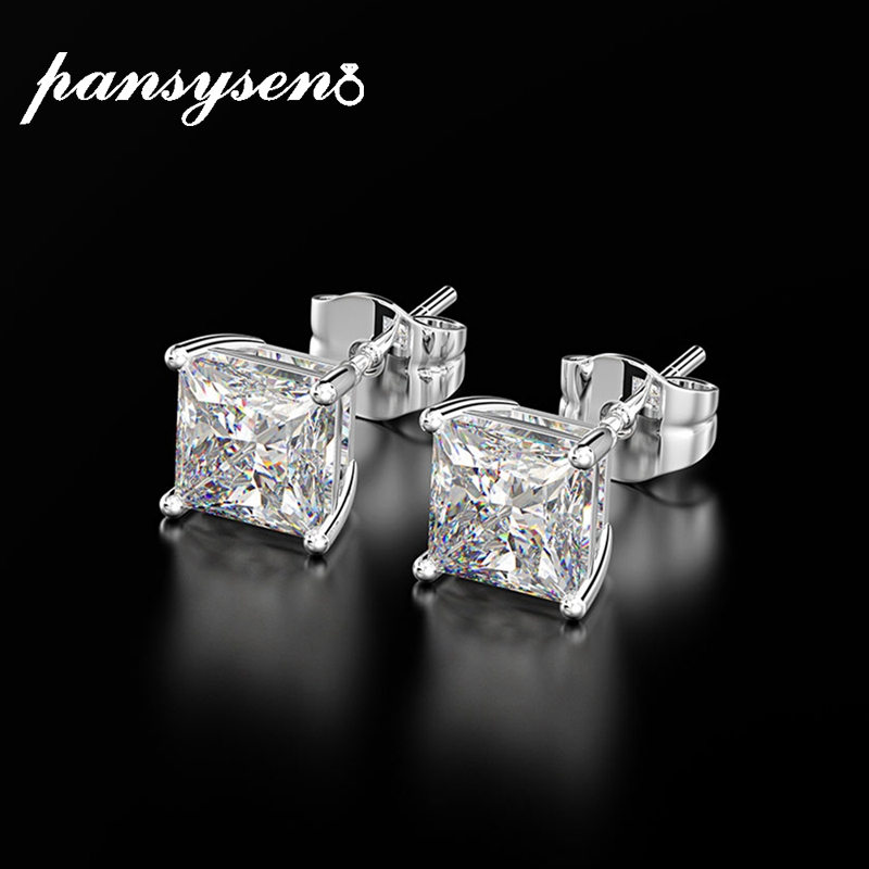 PANSYSEN Classic 6MM 7MM 8MM Square Created Moissanite Wedding Engagement Stud Earrings For Women 925 Silver Fine Jewelry Gifts