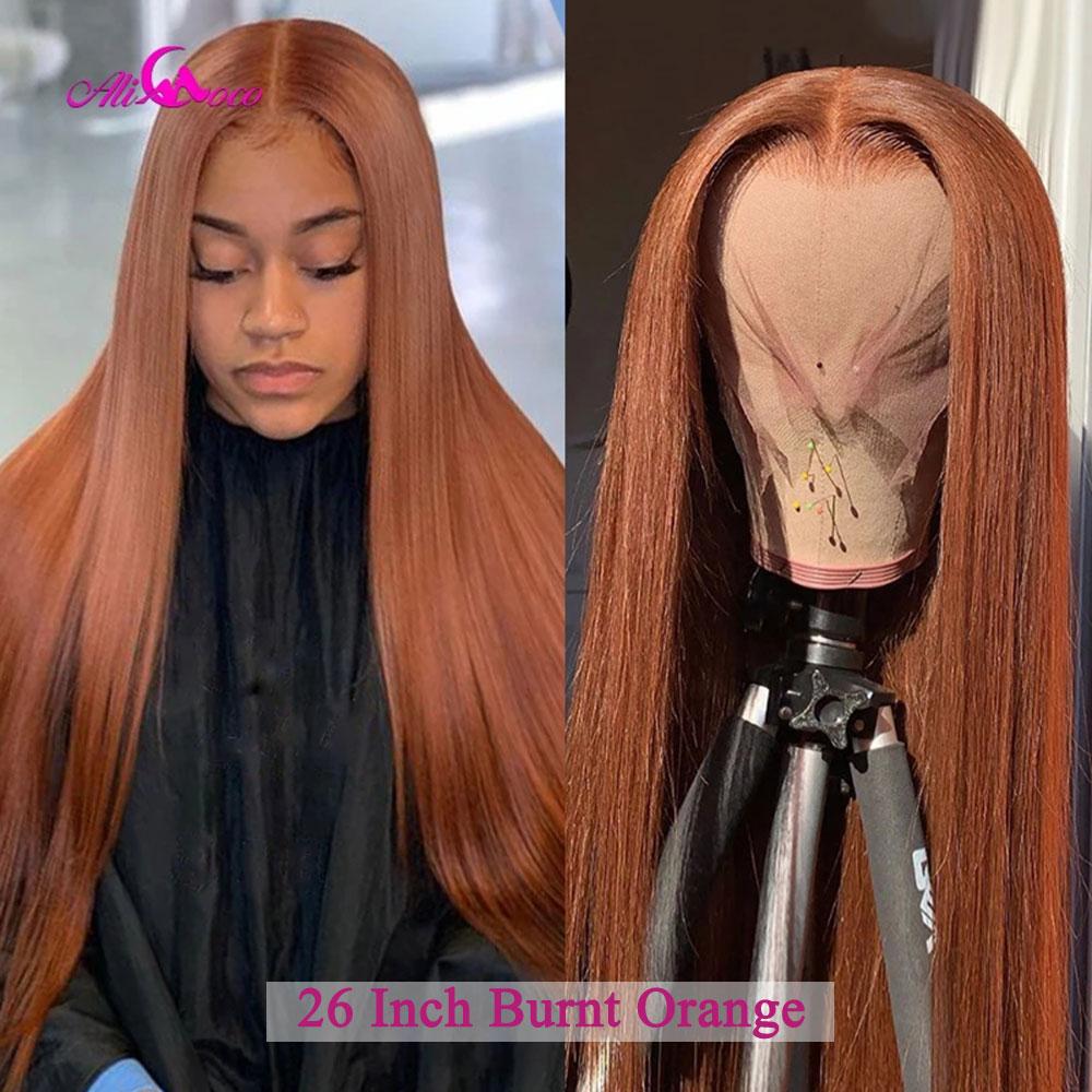 Парик с коричневой застежкой 10 А, прямые, сгоревшие, оранжевые человеческие волосы, парики на сетке спереди, предварительно выщипанные, 13x6, п...