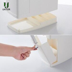 Image 4 - UNTIOR Multi function Trash Can Plastic Waste Bin with Toilet Brush Garbage Bucket Dustbin Kitchen Bathroom Cleaning Trash Bin