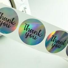 Reel laser sticker printing round thankyou thank you sticker custom laser logo
