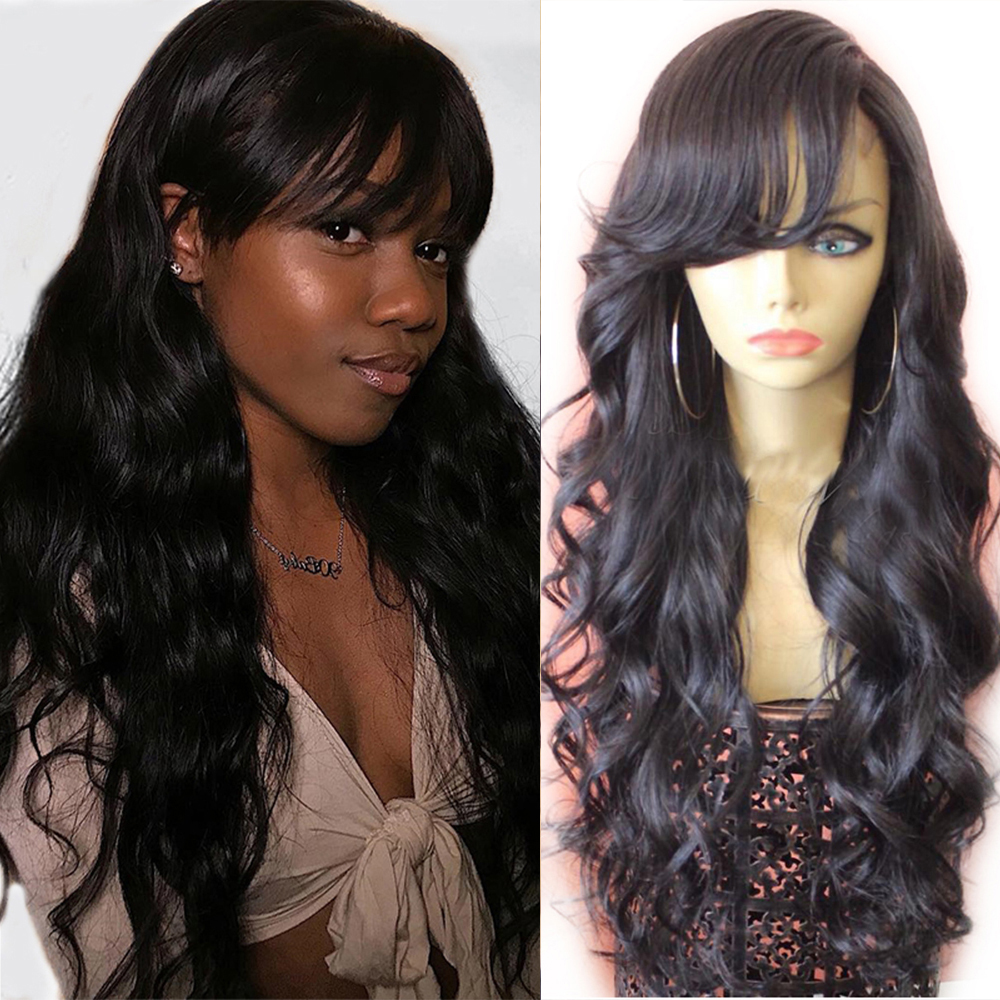 Eversilky13x4 Peruvian Lace Front Wigs With Bangs Body Wave Full Lace Human Hair Wigs With Baby Hair Pre Plucked Side Fringe Wig
