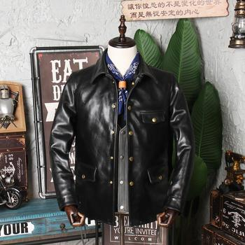 Free shipping.Brand tea core horsehide coat,brakeman genuine leather Jacket,classic casual.vintage clothing.sales - discount item  10% OFF Coats & Jackets