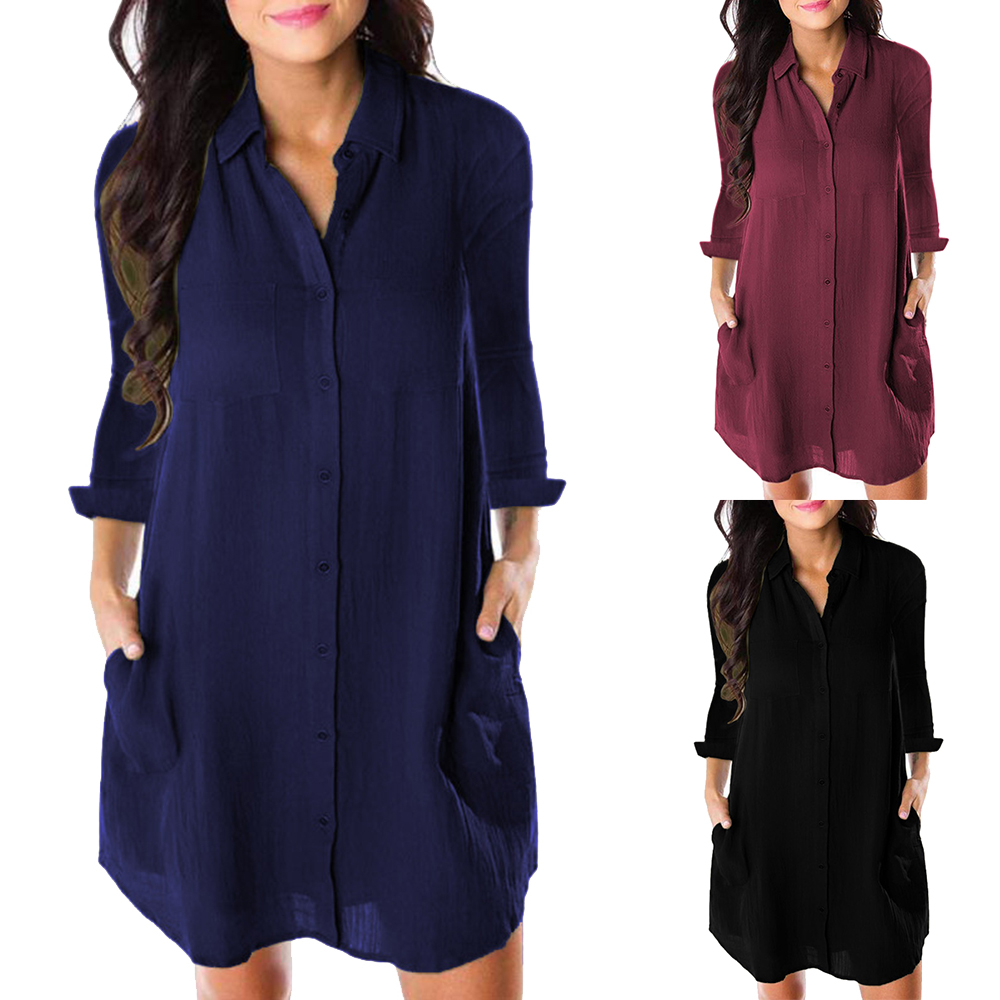Women Loose Solid Dresses Turn Down Casual Ladies Office Shirt Dresses Button 2019 Summer Spring Long Sleeve Dresses Vestidos
