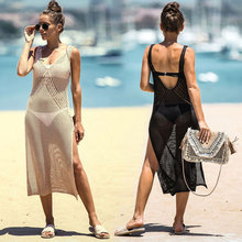 Cover-ups Sexy Strap Open Back Knitted Summer Beach Mesh Dress Crochet Tunic Women Beachwear Swimsuit Cover Up Sarongs mesh insert open back leaf print swimsuit