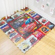 Коврик для ползания с машинками, 30x30 см, 9 штук, Микки, EVA, Зеленый Детский игровой коврик, сборочный коврик для лазания, детский игрушечный коврик