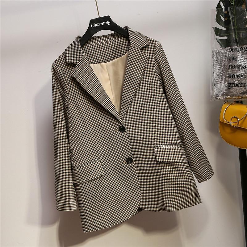 XL-5XL Autumn Plus size Vintage Plaid Blazer Office Lady Single Breasted Houndstooth Suit Coats Large Size Women Jacket Blazers