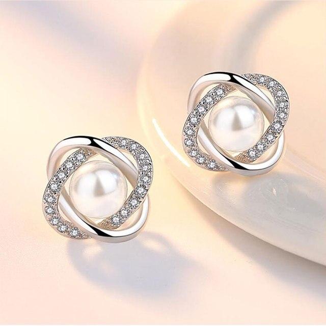 925 Sterling Silver Zircon-Pearl Twist Luxury Stud Earrings  4