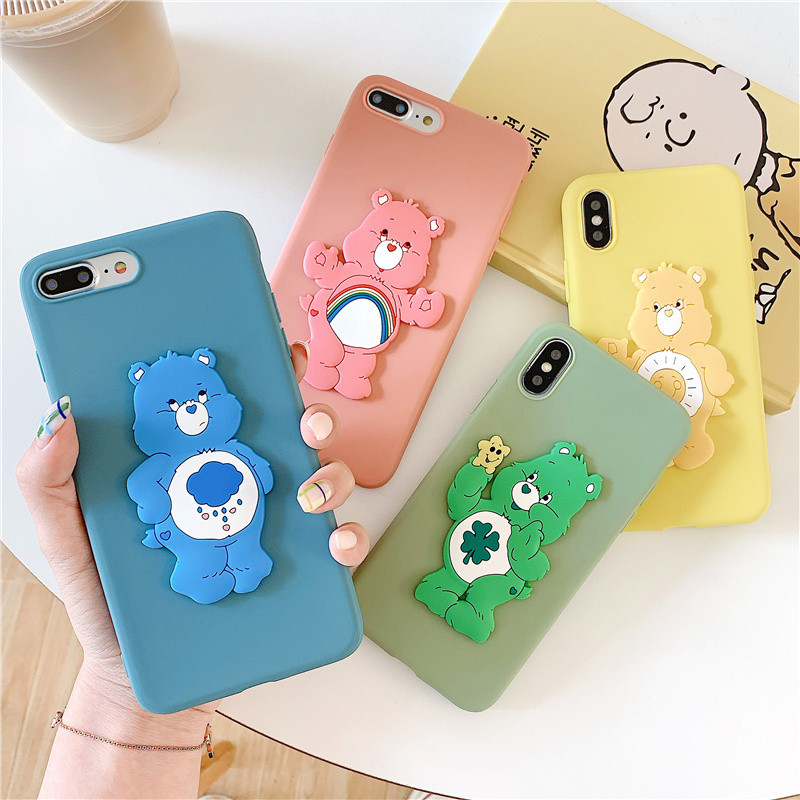 Korean Jelly care bears phone case for iphone 6 6s 8 7 plus protection rainbow bear iPhone 11 pro max xr x xs cases