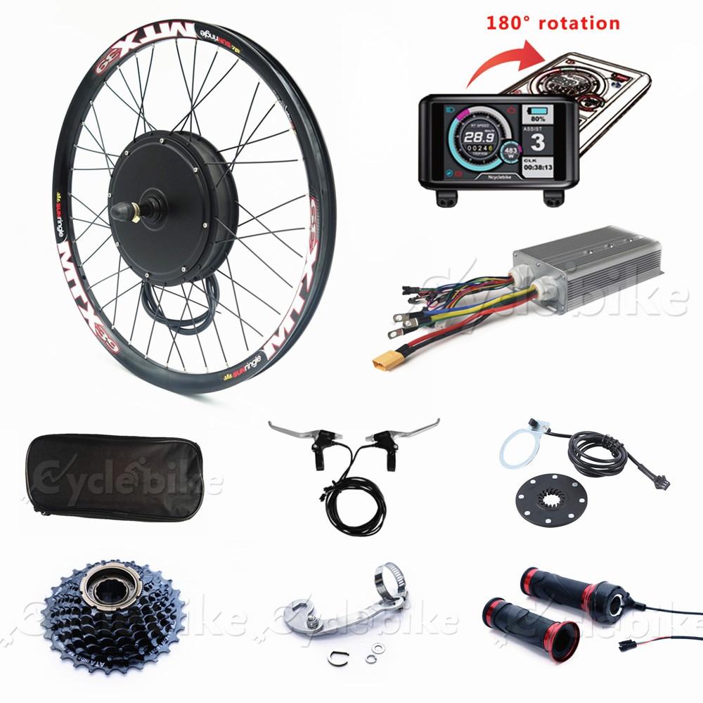 80 KM/H zestaw do roweru elektrycznego 72V 3000W koła silnik zestaw do konwersji roweru na elektryczny z kolorowy wyświetlacz tft