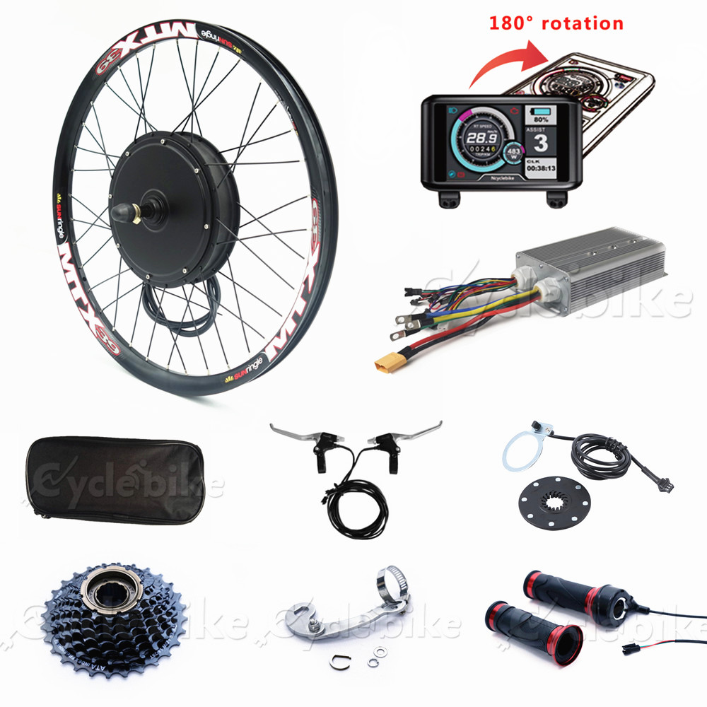 80KM/H Electric Bike Kit 72V <font><b>3000W</b></font> Wheel <font><b>Motor</b></font> Electric Bicycle Conversion Kit with TFT colorful display image