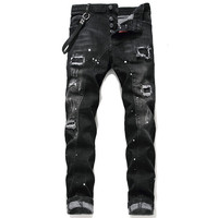 ABOORUN Ripped Skinny Jeans Men Paint Dot Patched Jeans Distressed Streetwear Hip Hop Denim Pants for Male R2390