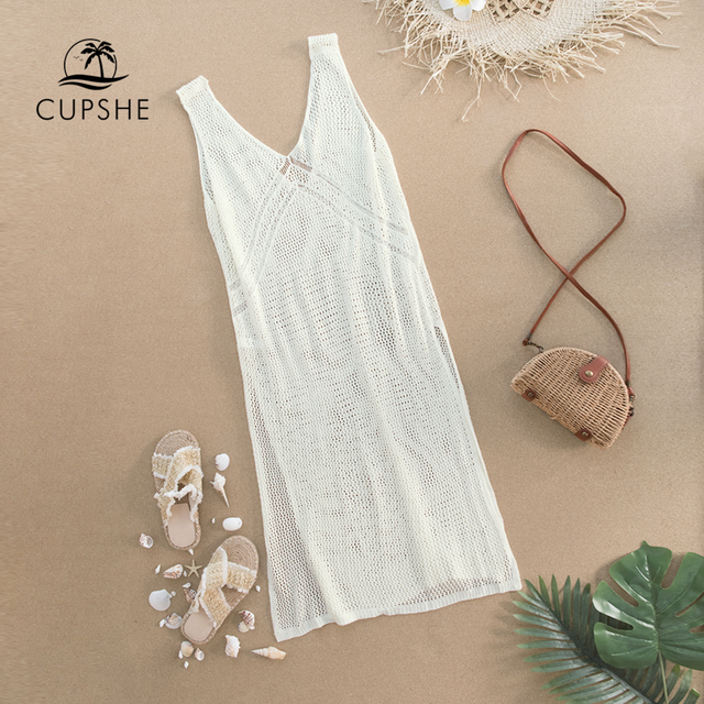 CUPSHE Ivory V-neck Hollow out Cover Up Woman Swimsuit Sexy Side Split Sleeveless Beach Midi Dress 2021 Summer Dress Beachwear 4