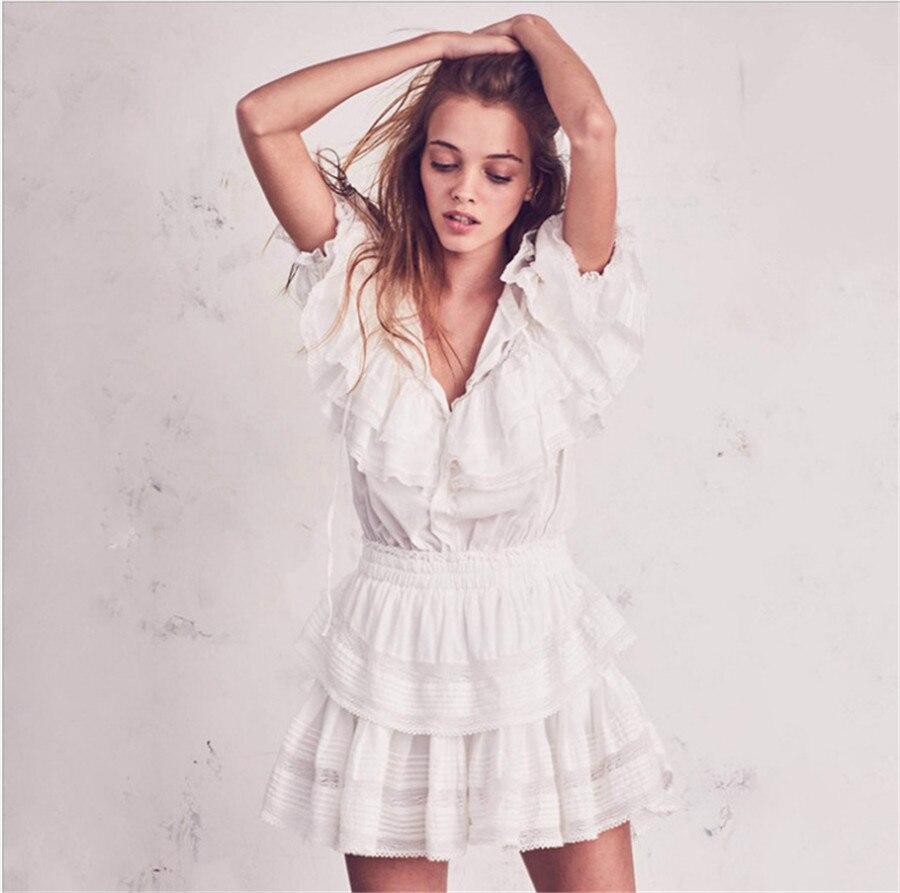 2019 automne femmes Sexy robe à manches courtes broderie en cascade à volants robe dentelle robe femmes Vestidos doux mignon robe