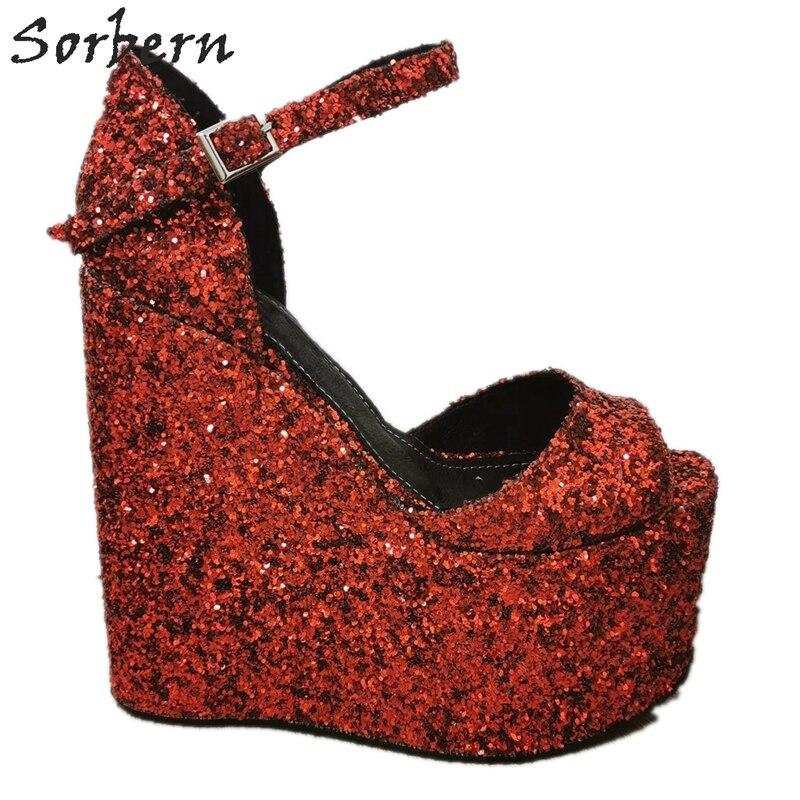 Sorbern Red Glitter Women Sandals Wedge