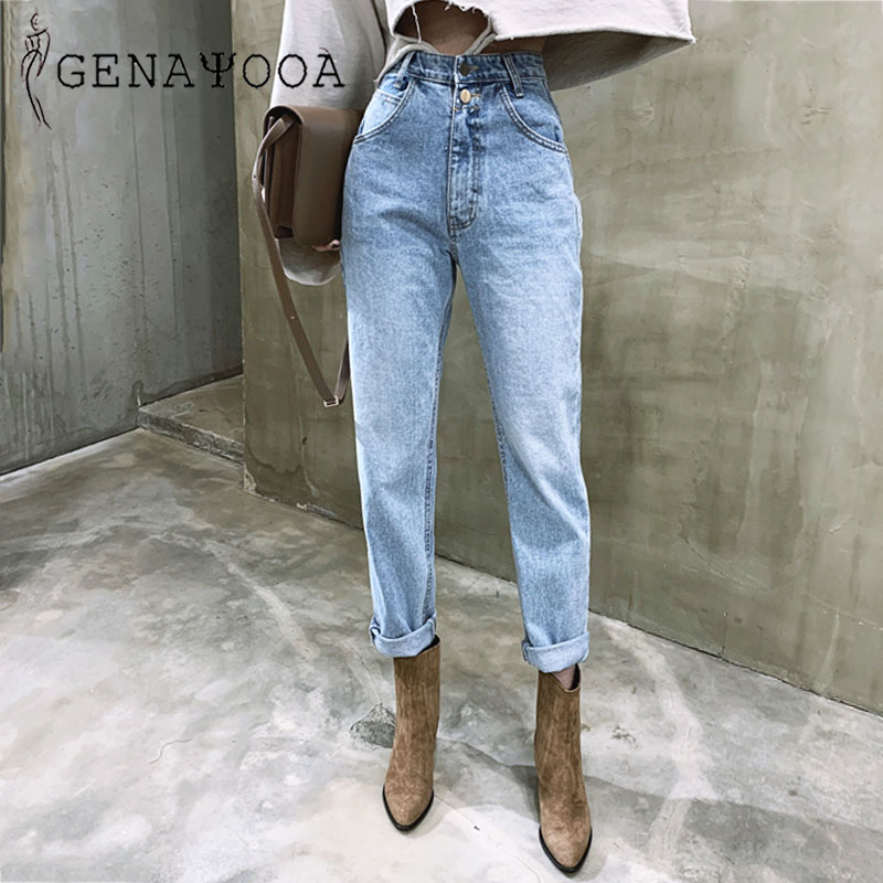 Genayooa Korean Women's Jeans Streetwear Ladies Slouchy Jeans Denim High Waist Cotton Vintage Pencil Pants 2020 Summer Mom Jeans