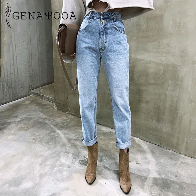 Genayooa Korean Women's Jeans Streetwear Ladies Slouchy Jeans Denim High Waist Cotton Vintage Pencil Pants 2020 Summer Mom Jeans