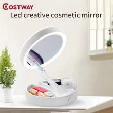طوي Led مرآة ماكياج Costway الأبيض الغرور مرآة لمستحضرات التجميل USB شحن أو بطارية مع ضوء 10X مكبرة الجدول المرايا