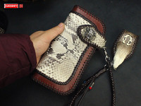 Luxury Handmade Snake skin men's wallet / inlaid python / card holder long wallets/ male cobra head lanyard wallet
